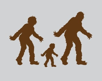 Happy Sasquatch Family Car Decal