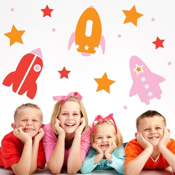 Rocket Ships and Stars Space Vinyl Wall Decal Kit