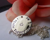 Teacher hand stamped disc necklace I TEACH THEREFORE I AM in steel