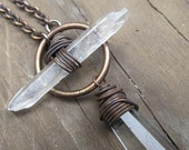 Quartz Long Necklace Statement Necklace Wire Wrap Necklace Rustic Jewelry DanielleRoseBean Long Crystal Necklace