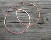 Large Copper Hoop Earrings Hammered Hoops Big Hoop Earrings 2.5 Inch Hoop Earrings DanielleRoseBean