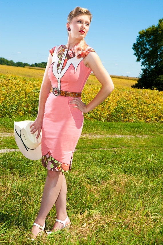 The Dale Dress - Coral - Western Rodeo Cowgirl Pinup Dress