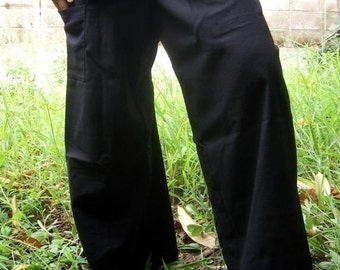 AweSome BlaCK CoTToN THAI Fisherman Wrap Pants Perfect for All SIZE