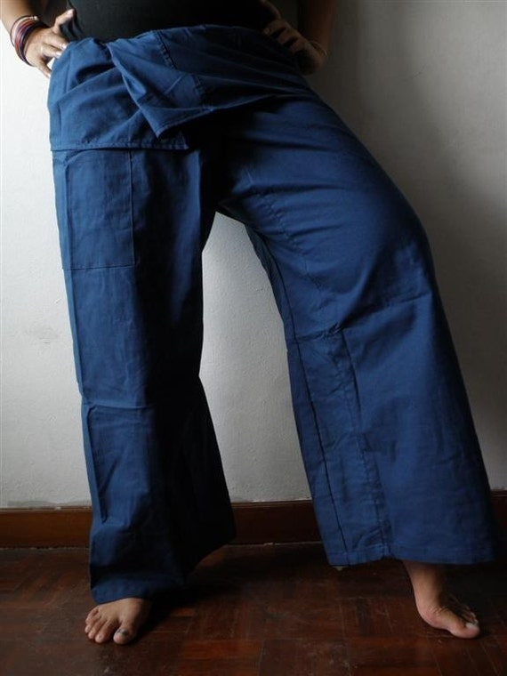 NAVY Blue Cotton THAI Fisherman Wrap Pants PERFECT for All Size