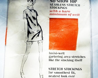 60's JACQUES HEIM orange stockings, unused vintage, mint condition, original package