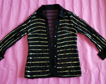 70s disco blouse, sequinned on transparent material, ultra-cool, ultra now