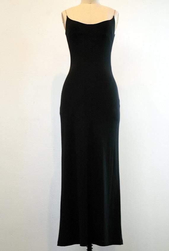 minimalist, long column dress, matte jersey with chain straps, black, silver, vintage 90's