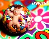 Strange Jewelry - Like Taking Candy From a Baby - Weird Giant Resin & Real Candy Sprinkles Dome Ring