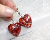 Gorgeous sparkly Red & Silver Earrings, dangle glitter resin hearts sparkle, festive anniversary or birthday heart jewelry for her, handmade