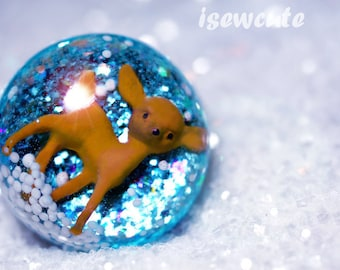 Big Glitter Ring - Resin ring, Adorable Fawn Baby Deer Resin Winter Wonderland - Small World Dome Sugar Snow & Glitter Handmade by isewcute