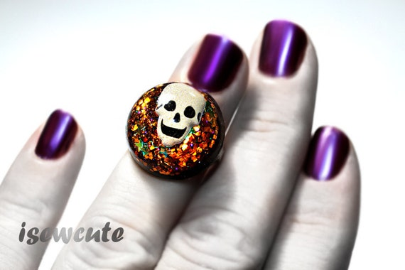 Halloween Jewelry Ring Resin Scary Skull Glitter Orange & Black Spooky Adjustable Size  ...by isewcute