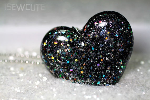 Resin Jewelry, Necklace, Black Noir Resin Glitter Heart Silvery Sparkles Pendant Necklace Cute High Fashion Big Bling Bijoux by isewcute