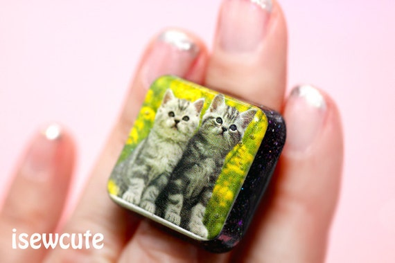 Jewelry, Cute Cat Ring, Take Me to the Kittens, Super Cute Kawaii Double Trouble Tabby Cats Modern Square Adjustable Size by isewcute