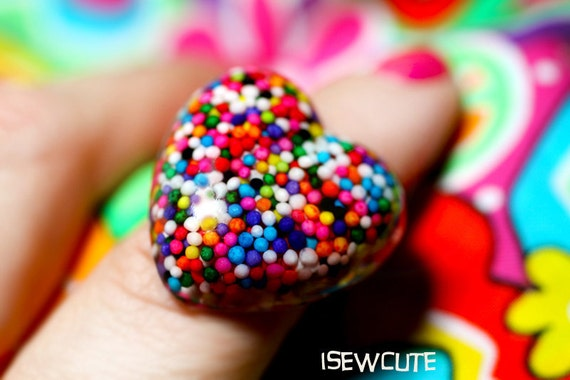 Sugar Love for Your Sweetie ...a wearable resin rainbow sprinkles heart shaped candy sprinkles ring made with love by isewcute