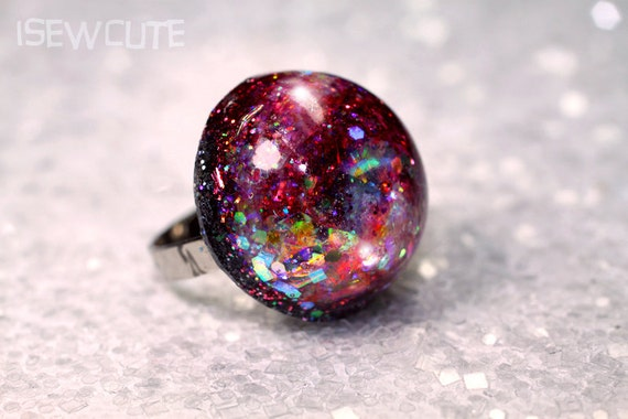 Winter Break Vacation Jewelry Beach Friendly Glitter Resin Ring Rose Pink Silver Black Various Color Modern Jewelry