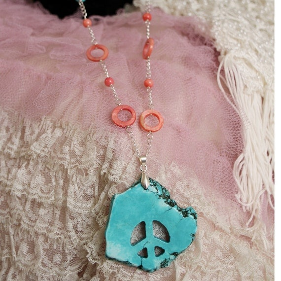 Necklace- Turquoise Peace Sign & Pink Shell w/ Sterling Silver