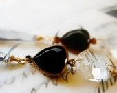 Statement earrings, - OOAK black heart Vintage lucite earrings, one of a kind, elegant Regency shoulder duste, dangle