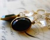 Vintage chandelier piece, vintage black lucite dangle earrings on goldfilled - sparkly elegance