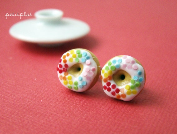 Rainbow Donut Earrings - Colors on White - Donut Collection