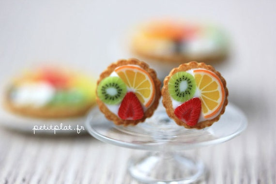 Fruit Tart Earrings - Tropical Orange, Kiwi & Strawberry - Fruit Tart Collection