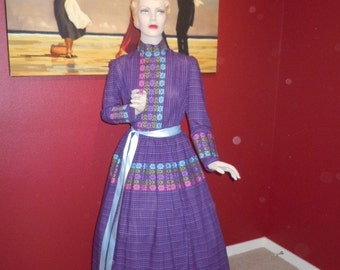 """Vintage 70's Women's Maxi Dress Purple and Blue Color with Floral Embroidered Fabric Trim -Handmade Beautiful -Bust 36"""""""