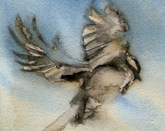 "More Than I can Imagine, Flying Bird - archival print of watercolor painting - 4"" x 4"" or  8"" x 8"""