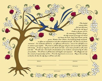 Tree of Life (White flowers) Ketubah /Wedding Vows -PRINT