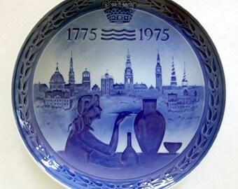 FREE SHIPPING Plate - Royal Copenhagen Bicentenary 1775-1975