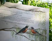 Modern Hand-painted Quaker Marriage Certificate BIRDS