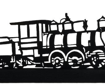 The 0-6-0 Locomotive Handmade Decorative Wood Display Silhouette  strt004