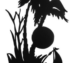 Tropical Paradise Handmade Wood Display Silhouette Decoration  sfas004