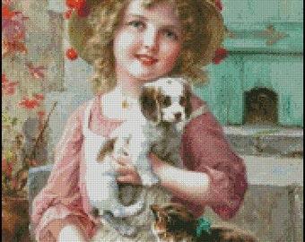 Emile Vernon GIRL WITH PUPPY cross stitch pattern No.120