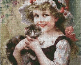 LITTLE GIRL with KITTY cross stitch pattern No.27