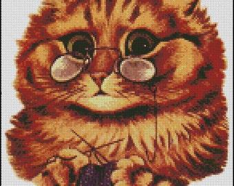 Knitting Kitty cross stitch pattern Bo.334