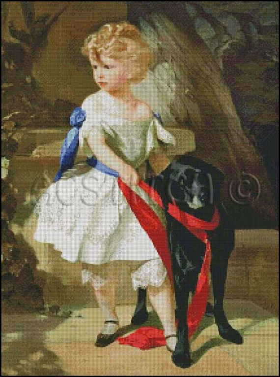 LITTLE GIRL and Her DOG cross stitch pattern No.10