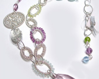 Wire Wrapped Necklace - Hodgepodge Gemstone (Amethyst, Peridot, Aqua, Chrysoberyl, Topaz, Sterling Silver)  N-0163