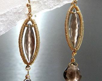 Wire Wrapped Earring - Golden Smoke Stiletto (Quartz, 14k GF)  E-0142