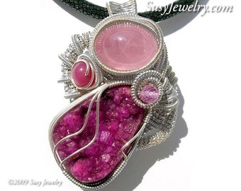 Wire Wrapped Pendant - Lush Druzy (Necklace)  N-0178