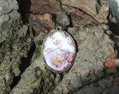Vintage style Pink glass and flowers Bronze tone pendant