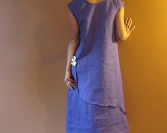 pleated flowers long length linen dress pick your colors custom order listing / linen dress for wedding / linen dress with flowers