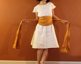 custom linen simplicity obi dress / wide obi sash / A line dress / white linen dress / knee length linen dress / petite / plus size / sash