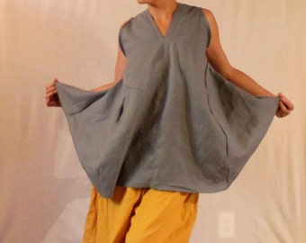 plus size custom linen origami seam flare top  made to fit listing
