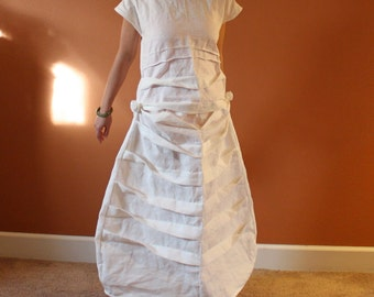 custom pleats roses linen dress