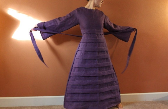 Custom  linen umbrella pleated dress made to fit listing