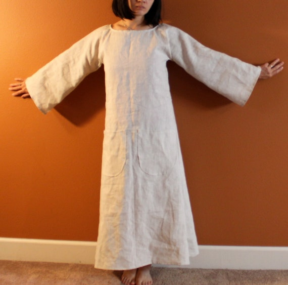 custom flare sleeve A shape linen dress