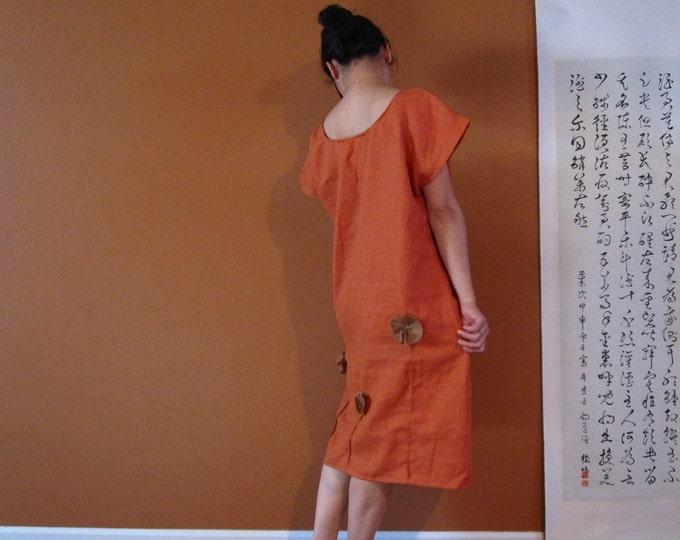 rust linen ginger poppy dress custom order listing