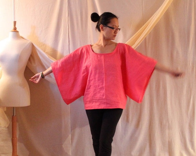 linen wide kimono sleeve top made to fit listing