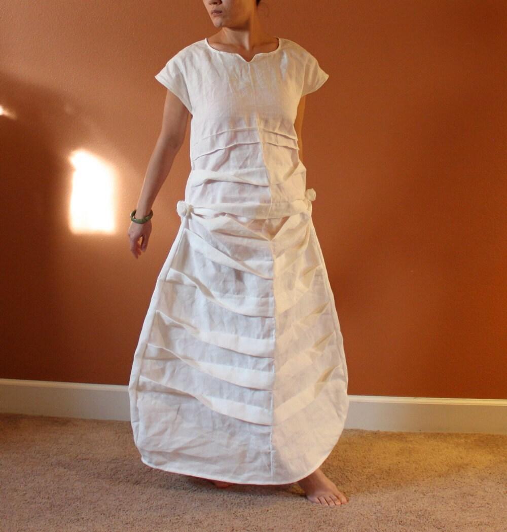 Custom pleats roses linen dress white linen dress for Cloth for wedding dresses