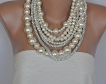 Chunky Pearl Necklace ,bold Layered Ivory Pearl Necklace with Rhinestones brides bridesmaids
