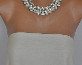 Brides wedding necklace with freshwater pearls and rhinestone trim